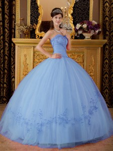 Lilac Ball Gown Sweetheart Floor-length Tulle Appliques Quinceanera Dress