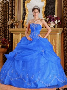 Blue Ball Gown Strapless Floor-length Organza Appliques Quinceanera Dress
