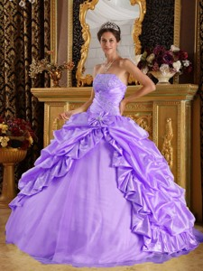 Lavender Ball Gown Floor-length Taffeta and Tulle Beading Quinceanera Dress