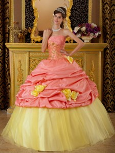Watermelon and Yellow Ball Gown Strapless Floor-length Taffeta and Tulle Beading Quinceanera Dress