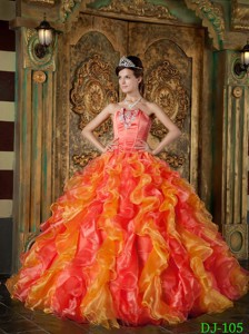 Orange Red Ball Gown Strapless Floor-length Organza Ruffles Quinceanera Dress