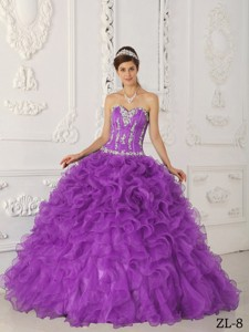 Lavender Ball Gown Sweetheart Floor-length Satin and Organza Appliques Quinceanera Dress
