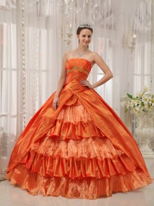 Orange Ball Gown Strapless Floor-length Taffeta Ruffles Quinceanera Dress