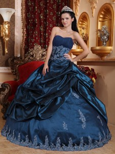 Navy Blue Ball Gown Sweetheart Floor-length Taffeta Appliques Quinceanera Dress