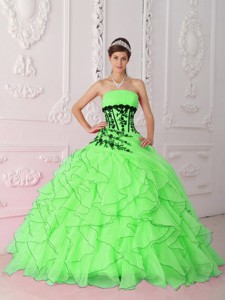 Spring Green Strapless Appliques and Ruffles Quinceanera Dress
