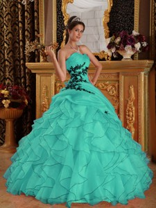 Turquoise Ball Gown Sweetheart Floor-length Organza Appliques Quinceanera Dress
