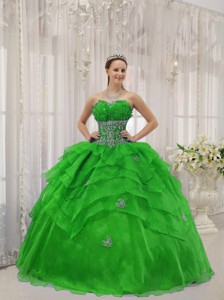 Spring Green Ball Gown Strapless Floor-length Organza Beading Quinceanera Dress