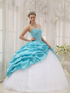Aqua Blue Ball Gown Sweetheart Floor-length Taffeta and Tulle Beading Quinceanera Dress