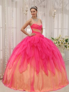 Hot Pink Ball Gown Strapless Floor-length Organza Beading Quinceanera Dress