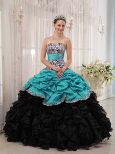 Brand New Turquoise and Black Ball Gown Sweetheart Floor-length Quinceanera Dress