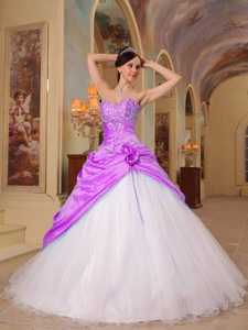 Fuchsia And White Princess Sweetheart Floor-length Beading Tulle And Taffeta Quinceanera Dr