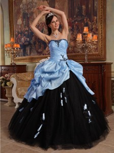 Lilac and Black Ball Gown Sweetheart Floor-length Hand Flowers Tulle and Taffeta Quinceanera Dress