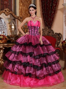 Multi-color Ball Gown Sweetheart Floor-length Organza Ruffles Quinceanera Dress
