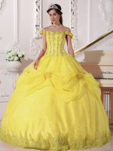 Yellow Ball Gown Off The Shoulder Floor-length Taffeta And Organza Appliques Q