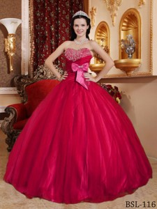Red Ball Gown Sweetheart Floor-length Tulle and Tafftea Beading Quinceanera Dress