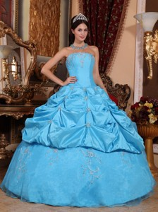 Teal Ball Gown Strapless Floor-length Taffeta and Organza Beading Quinceanera Dress