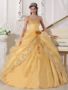Gold Ball Gown Strapless Floor-length Organza Embroidery with Beading Quinceanera Dress