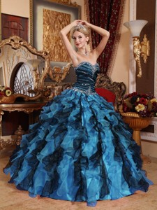Blue and Black Sweetheart Beading and Ruffles Quinceanera Dress
