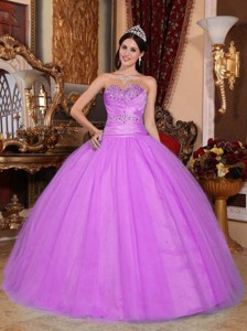 Hot Pink Ball Gown Sweetheart Floor-length Tulle and Taffeta Beading and Ruch Quinceanera Dress