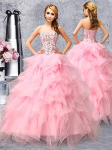 Popular Beaded and Ruffled Organza Quinceanera Dress in Rose Pink