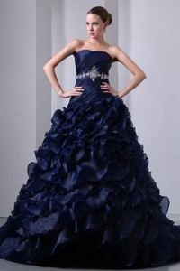 Navy Blue Princess Strapless Brush Train Taffeta And Organza Beading And Ruch Quinceanea Dr