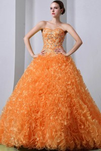 Orange Red Princess Sweetheart Brush Train Organza Beading And Ruffles Quinceanea Dress