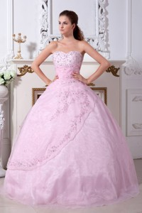 Rose Pink Princess Sweetheart Floor-length Organza Embroidery Quinceanera Dress