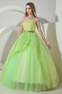 Spring Green Princess Strapless Floor-length Organza Ruching Prom Dress