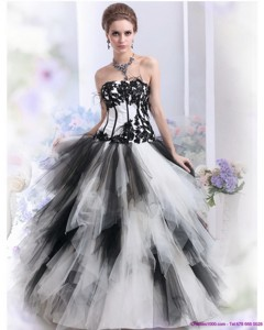 Pretty White And Black Strapless Quinceanera Dress With Appliques