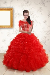 Ball Gown Beading Quinceanera Dress In Red