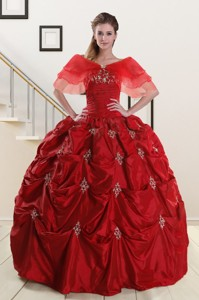 Wine Red Strapless Quinceanera Dress With Appliques