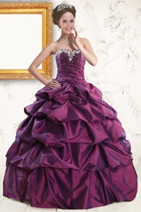 Sweetheart Purple Quinceanera Dress With Appliques And Pick Up
