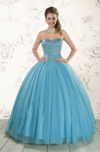 Brand New Style Ball Gown Beaded Quinceanera Dress in Baby Blue