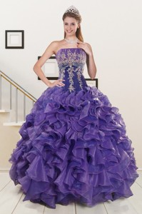 Prefect Purple Sweet 15 Dress With Embroidery And Ruffles