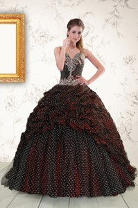 Wonderful Spaghetti Straps Burgundy Sweet 15 Dress With Appliques And Pick Ups