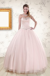 Lovely Light Pink Beading Quinceanera Dress