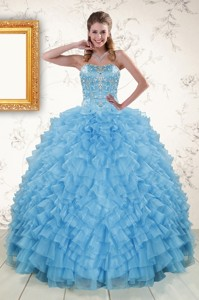 Pretty Sweetheart Baby Blue Sweet 15 Dress With Beading