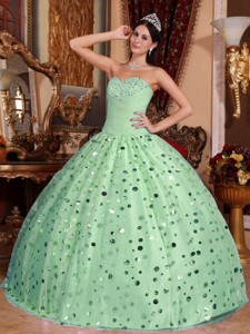 Apple Green Ball Gown Sweetheart Floor-length Tulle Sequins Quinceanera Dress