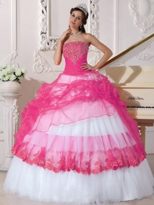 Hot Pink and White Ball Gown Strapless Floor-length Taffeta and Organza Appliques Quinceanera Dress