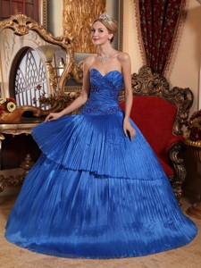Royal Blue Ball Gown Sweetheart Floor-length Organza Quinceanera Dress