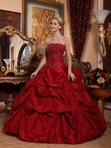 Wine Red Ball Gown Strapless Floor-length Taffeta Beading Quinceanera Dress