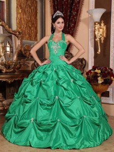Green Ball Gown Halter Top Floor-length Taffeta Appliques Quinceanera Dress