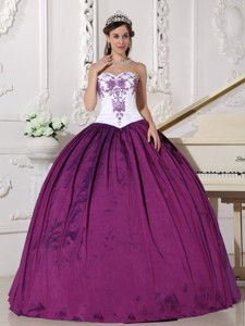 White and Purple Ball Gown Sweetheart Floor-length Taffeta Embroidery Quinceanera Dress
