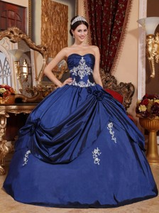 Navy Blue Ball Gown Sweetheart Floor-length Satin Appliques Quinceanera Dress