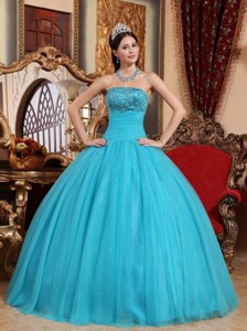 Aqua Blue Ball Gown Strapless Floor-length Tulle Embroidery with Beading Quinceanera Dress