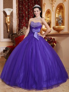 Purple Ball Gown Sweetheart Floor-length Tulle and Tafftea Beading Quinceanera Dress