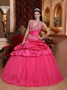 Hot Pink Ball Gown Halter Floor-length Taffeta Appliques Quinceanera Dress