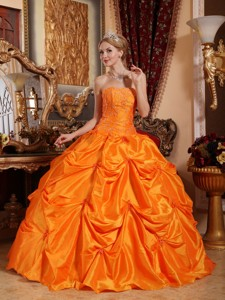 Orange Red Ball Gown Strapless Floor-length Taffeta Beading Quinceanera Dress