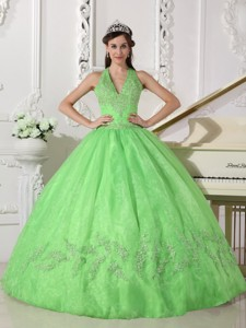 Spring Green Ball Gown Halter Floor-length Taffeta and Organza Appliques Quinceanera Dress