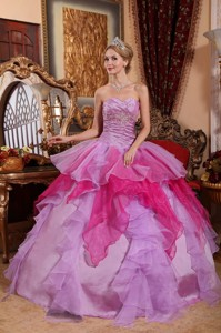 Affordable Ball Gown Sweetheart Floor-length Organza Beading Quinceanera Dress